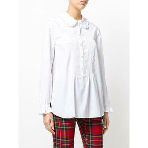 Burberry White Pintuck Pleated Placket Shirt  10